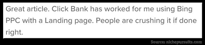 Niche Pursuits - Clickbank Tutorial - User Comment